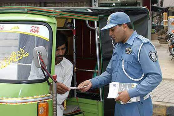 City traffic police agent while running public awareness campaign