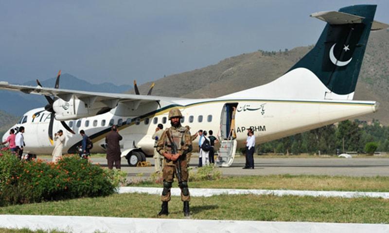 Army soldier at Saidu Sharif Airport.