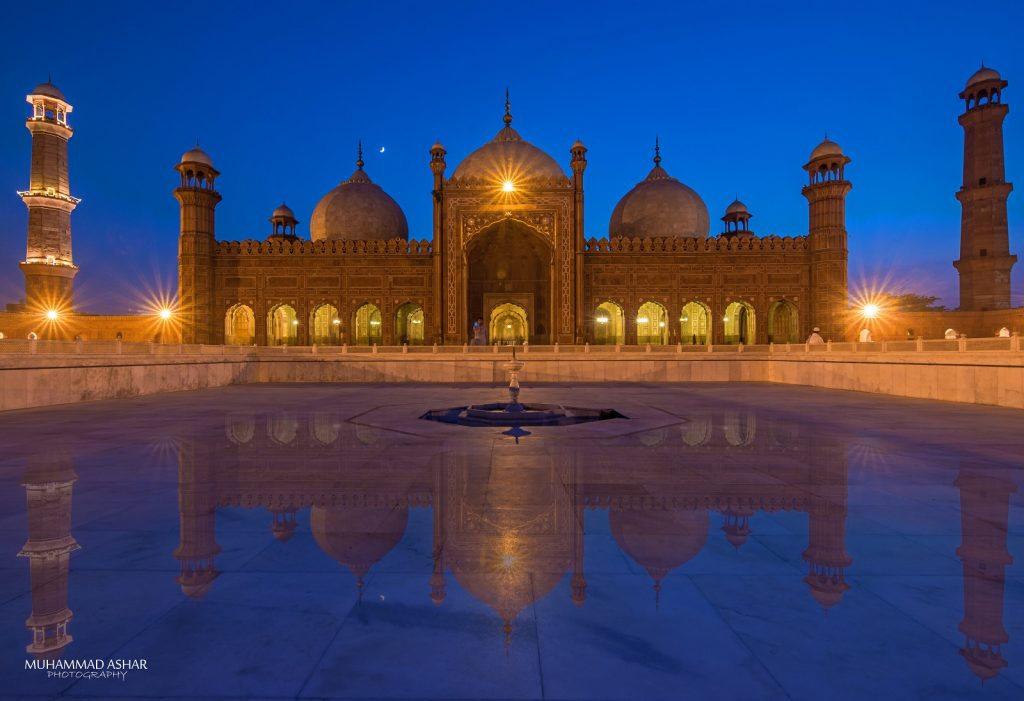 The true reflection of Badshahi Masjid also known as Emperor's Mosque