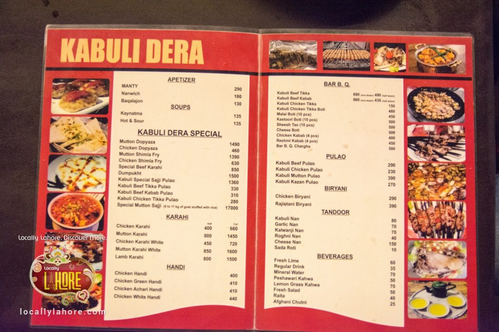 Menu of Kabuli Dera, there you will find something different