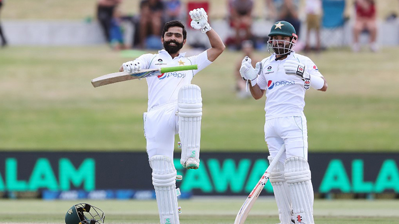 Picture of Fawad Alam celebrating his century