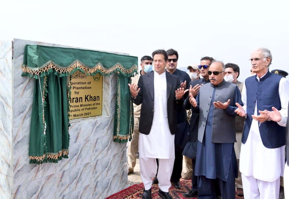 Khan inaugurating olive plantation drive