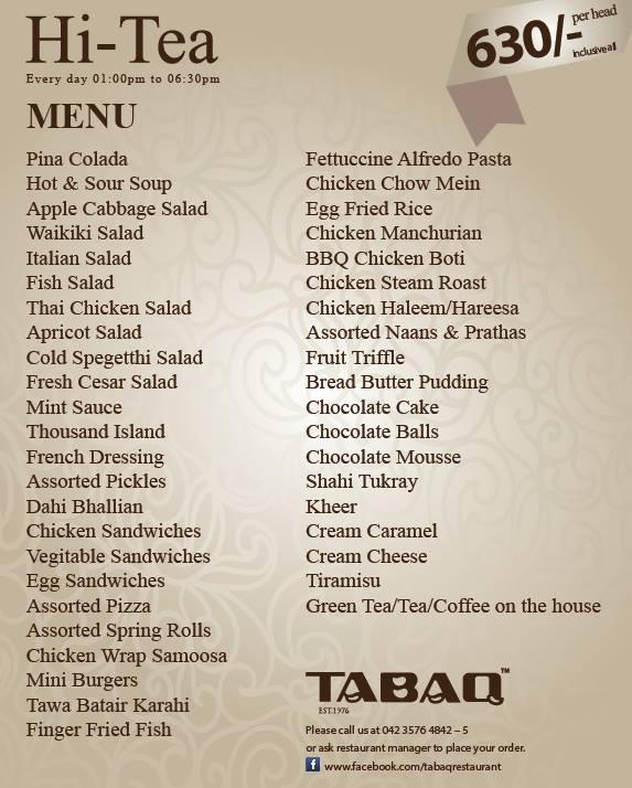 Tabaq's Menu