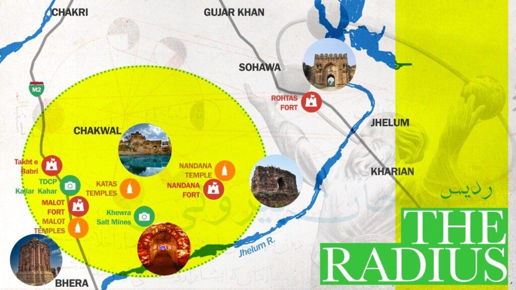 Proposed map of the radius - Nandana Fort