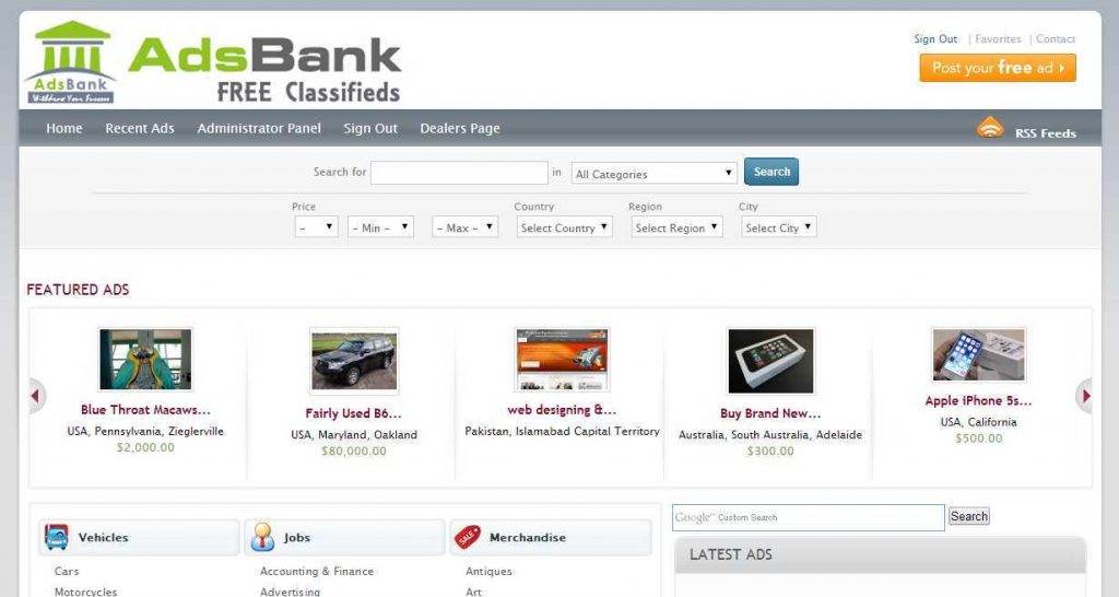 adsbank Free Classified