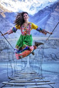 Dear Alyne, (wearing a local traditional dress), having the time of her life in the northern areas of Pakistan